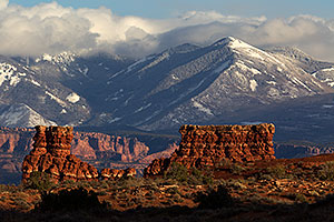 View of La Sal Mountains in Arches National Park