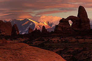 Sunset at Turret Arch in Arches National Park