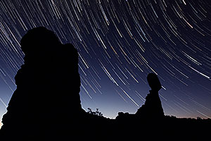 43 minutes of star trails at Balanced Rock in Arches National Park at sunrise