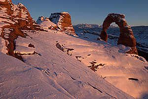 Snow at Delicate Arch in Arches National Park