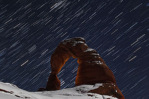 11 minutes of star trails at Delicate Arch in Arches National Park