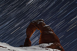 28 minutes of star trails at Delicate Arch in Arches National Park
