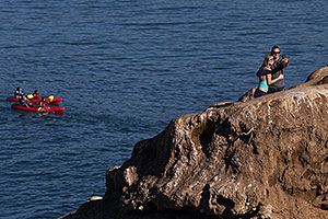 People and Kayakers in La Jolla, California