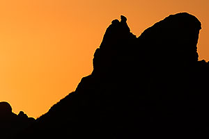Mesa Rock silhouette at sunset in Superstitions