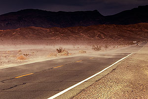 Wind and dust on the road in Death Valley