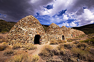 10 Charcoal Kilns used to produce charcoal (1879-1882) in Wildrose, Death Valley, California