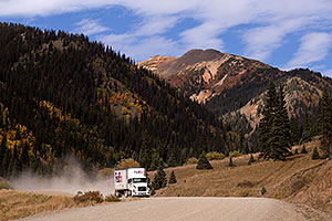 FedEx truck approaching Silverton on a dirt road