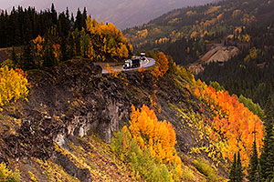 Semi truck and motorhome at Red Mountain Pass