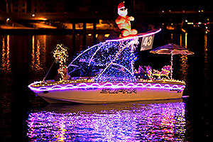 Boat #43 with surfing Santa at APS Fantasy of Lights Boat Parade