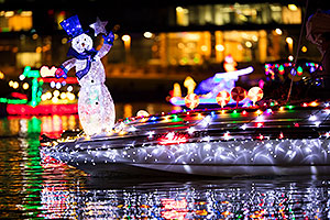 Boat with Snowman at APS Fantasy of Lights Boat Parade