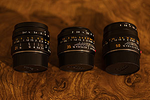Leica Lenses - 21mm f/3.4 Elmarit ASPH, 35mm f/2 Summicron ASPH and 50mm f/2 Summicron