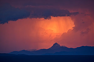 Sunset at Baboquivari Peak (elevation 7,734 ft or 2357 m) viewed from Green Valley, Arizona