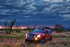 Xterra and August monsoon sky in Green Valley
