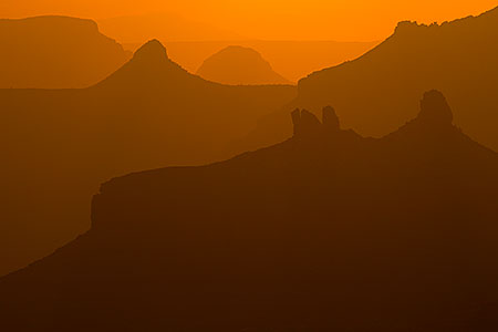 Silhouettes of Grand Canyon peaks, Arizona