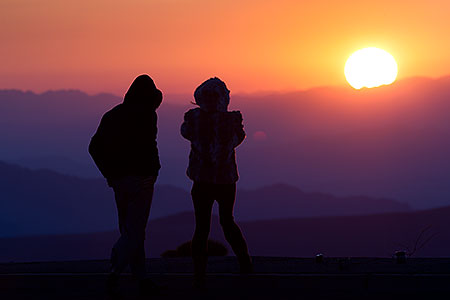People Silhouettes at sunrise in Death Valley