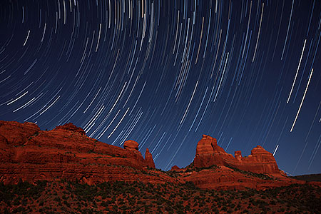 Startrails over Sedona, Arizona