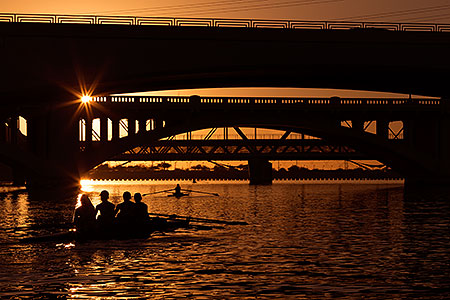 Rowers at sunset at Tempe Town Lake