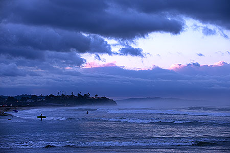 Surfers at Cardiff by the Sea, California