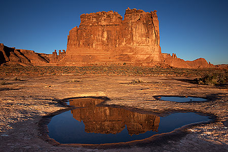 Courthouse Rock reflection in Arches, Utah