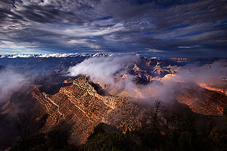 Fog moving across Grand Canyon, Arizona