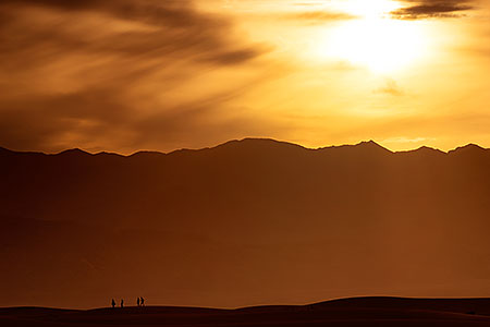 Walking the sand dunes in Death Valley, California
