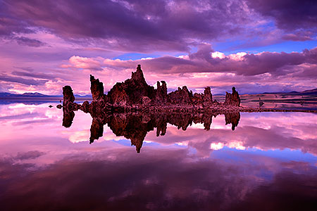 Mono Lake reflection of Tufa rock formations in California