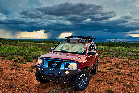 Xterra and monsoon clouds in Green Valley, Arizona