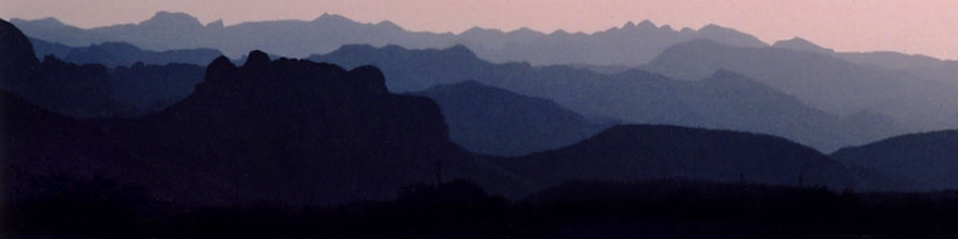 /images/500/2003-06-supersti-sunset-sp.jpg - #01247: Superstition Mountains with Apache Trail Road in foreground… June 2003 -- Apache Trail Road #2, Superstitions, Arizona