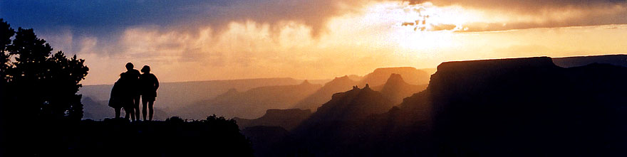/images/500/2004-07-grand-3-sunset-sp.jpg - #01669: Silhouettes of Aneta, Ewka & Ola (left to right) during sunset in Grand Canyon … July 2004 -- Navajo Point, Grand Canyon, Arizona
