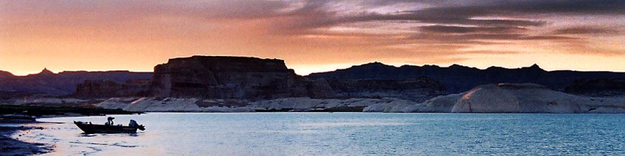 /images/500/2004-07-powell2-sunset2-sp.jpg - #01732: sunset at Lone Rock … July 2004 -- Lone Rock, Lake Powell, Utah