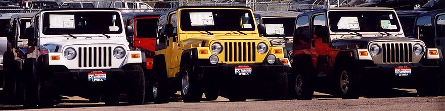 /images/500/2006-03-lithia-wranglers-sp.jpg - #02843: white, yellow and grey 2006 Jeep Wranglers in Centennial … March 2006 -- Lithia Jeep, Centennial, Colorado