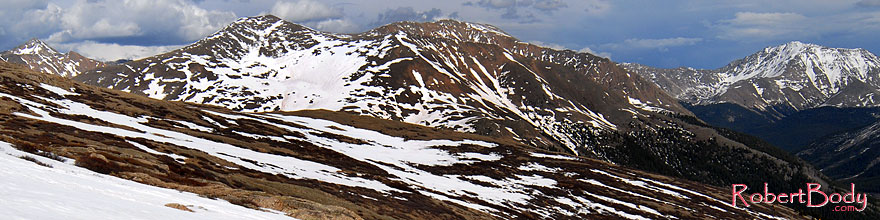 /images/500/2007-06-03-indep-road02-sp.jpg - #03842: view from above Independence Pass with La Plata Peak at 14,336 ft on far right … June 2007 -- La Plata Peak, Independence Pass, Colorado