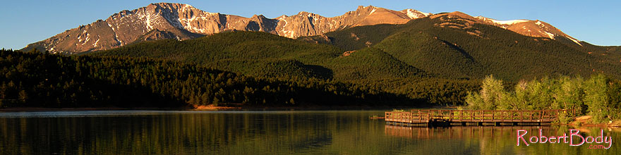 /images/500/2007-06-22-pikes-lake01-sp.jpg - #03984: Morning reflection of Pikes Peak in Crystal Reservoir … June 2007 -- Crystal Reservoir, Pikes Peak, Colorado