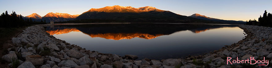 /images/500/2007-06-24-elfore-stitch-sp.jpg - #04021: morning reflection of Mt Elbert in Mt Elbert Forebay … June 2007 -- Mt Elbert Forebay, Twin Lakes, Colorado
