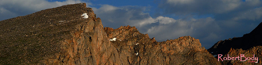 /images/500/2007-07-08-biers-saw-eve2-sp.jpg - #04188: The Sawtooth with highest peak at 13,780 ft … July 2007 -- The Sawtooth, Mt Bierstadt, Colorado