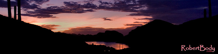 /images/500/2008-08-30-supers-sunset-22821sp.jpg - #05801: Car headlights by Canyon Lake in Superstitions … August 2008 -- Canyon Lake, Superstitions, Arizona