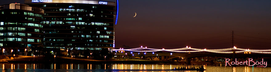 /images/500/2008-10-01-tempe-lake-31493sp.jpg - #05916: 8 person sculling boat at Tempe Town Lake under a crescent moon … October 2008 -- Tempe Town Lake, Tempe, Arizona