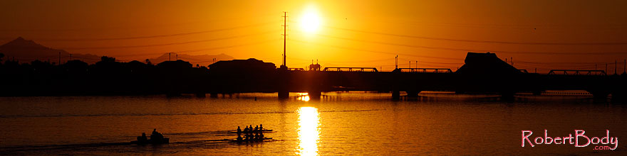 /images/500/2008-10-29-tempe-lake-41364sp.jpg - #06001: Scullers at sunset at Tempe Town Lake … October 2008 -- Tempe Town Lake, Tempe, Arizona