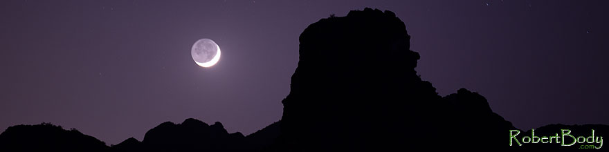 /images/500/2013-05-12-supers-face-rk-moon-39989sp.jpg - #11095: Mountain silhouettes and crescent moon in Superstitions … May 2013 -- Apache Trail Road, Superstitions, Arizona
